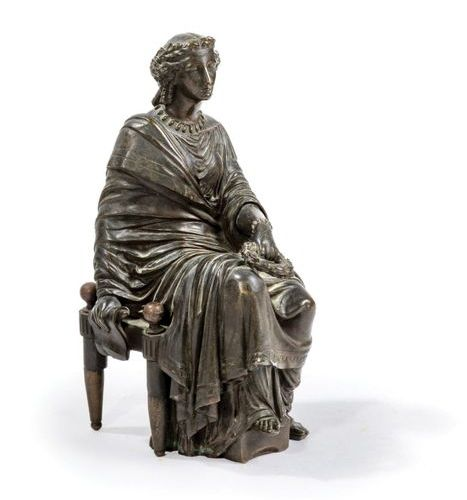 Bronze sculpture of a seated woman holding a laurel wreath on her lap.  Bronze w…