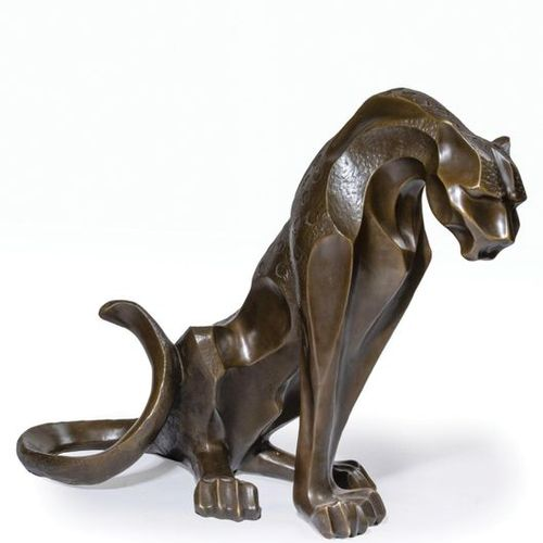 A. NOTARI (20th century).  Sitting panther.  Bronze medal skate. Signed at the t…