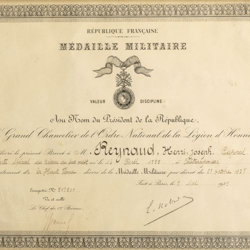Third Republic. Military medal. Diploma issued to Mr. Reynaud, corporal speciall…