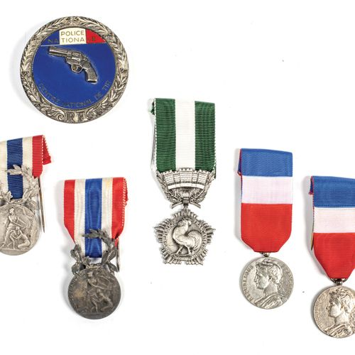 5 decorations. Two police medals and two labour medals in silver with ribbons. A…