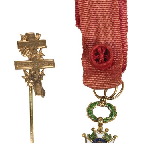 Two pieces. A gold Legion of Honor of officer IVth Republic, miniature size. T.B…