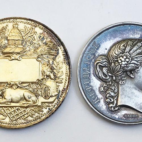 Lot de DEUX médailles en argent et vermeil :  Ministère de l'Agriculture et du C…