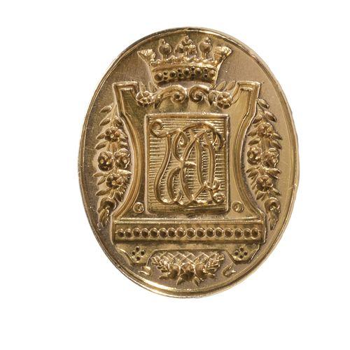 Cachet à cire ou sceau à cacheter en or jaune, le plat ovale gravé d'un chiffre …