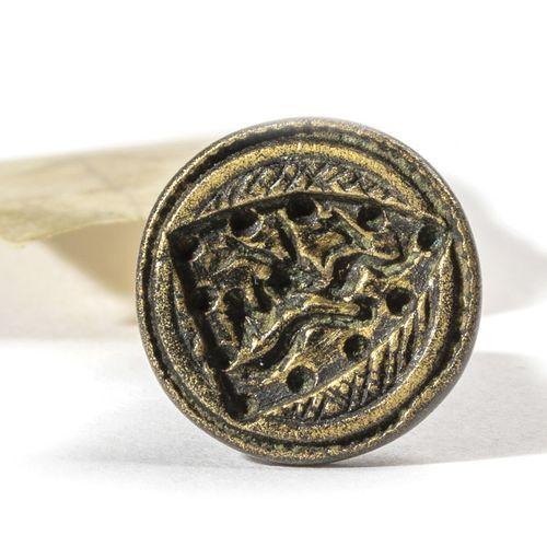 Cachet à cire ou sceau à cacheter en bronze, le plat orné par un lion marchant d…
