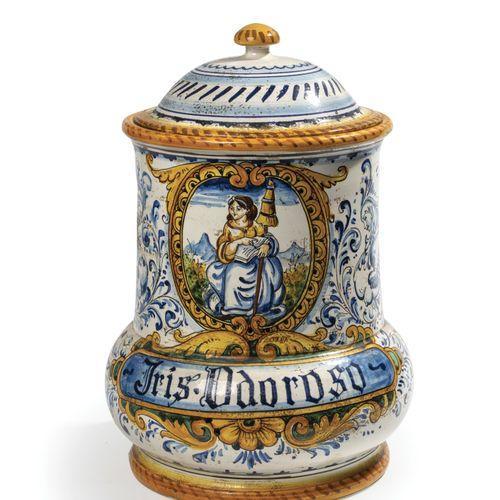 Italie.  Pot à pharmacie marqué «Iris Odoroso»  XIXème siècle.  Hauteur:36 c…