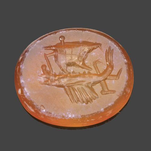 Intaille en cornaline gravée d'une galère naviguant vers la gauche.  Art romain,…
