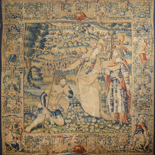 Rare tapisserie représentant « la reine Thomiris recevant le messager de Cyrus »…