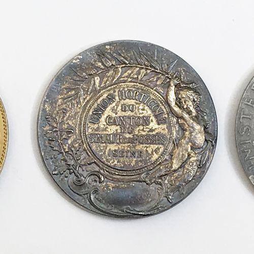 Lot de TROIS médailles en argent ou vermeil :  Société d'horticulture de Vitry s…