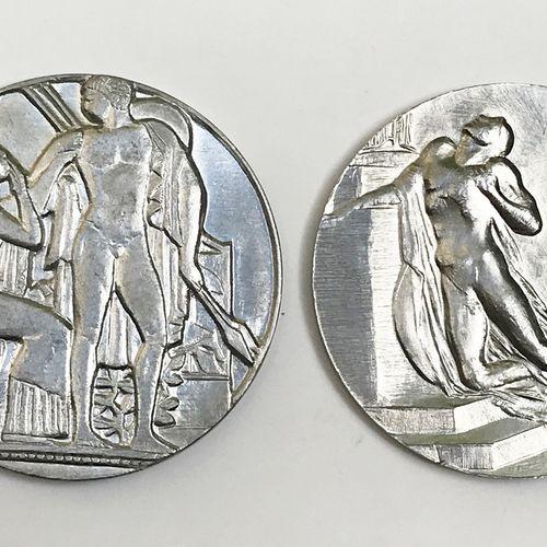 Lot de deux médailles en étain.  Les Adieux Grand Prix de Rome de Gravure en Méd…