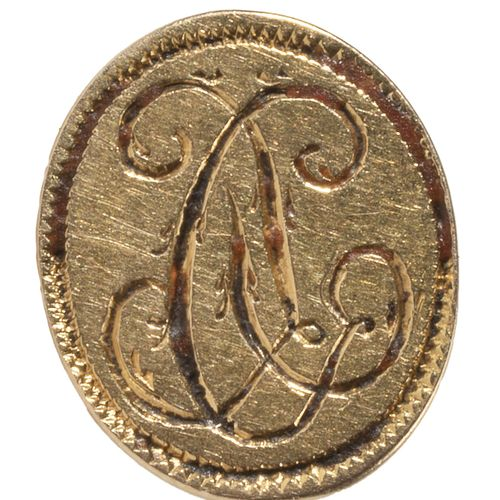Cachet à cire ou sceau à cacheter en or jaune, le plat ovale gravé d'un chiffre.…