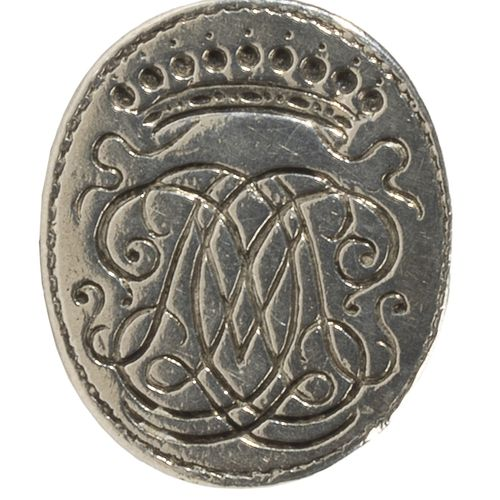 Cachet à cire ou sceau à cacheter en argent à prise ajourée formée par deux daup…