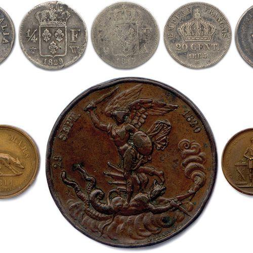 HUIT monnaies (4) et médailles (4) françaises: 5 Soldi de Napoléon Ier roi d'It…