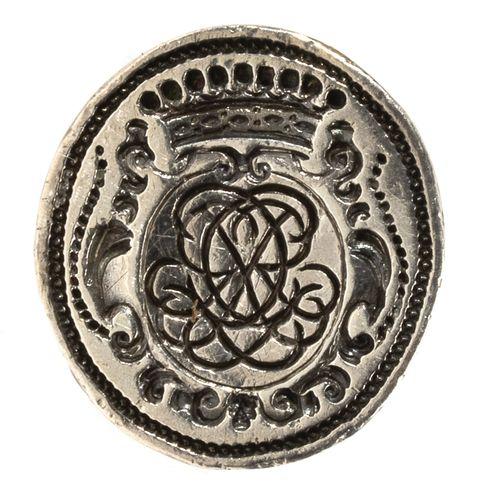 Cachet à cire ou sceau à cacheter en argent à prise ajourée à motifs d'agrafes, …