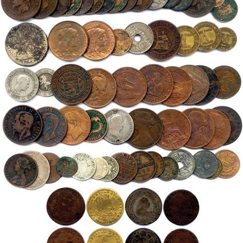 LOT de monnaies françaises et étrangères en cuivre, argent, nickel et autres mét…