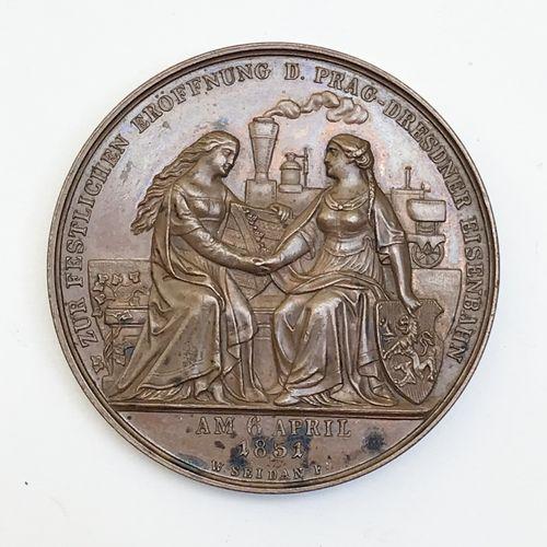Bohême. AE médaille, 1851, Seidan. Chemin de fer de Prague à Dresde.  A./ La Boh…
