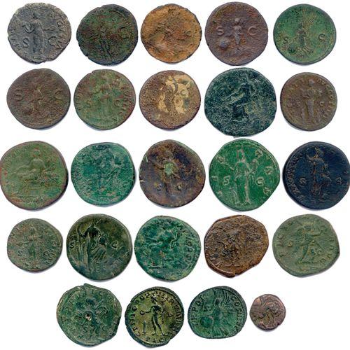EMPIRE ROMAIN  Lot de VINGT QUATRE monnaies romaines en bronze (Sesterces, Dupon…