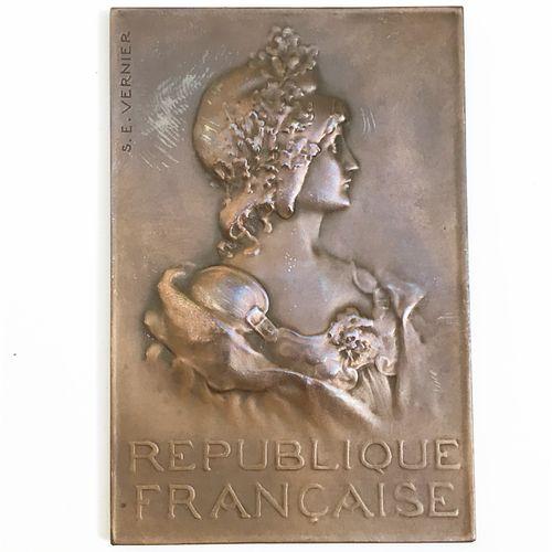 Plaquette rectangulaire en bronze par S. E. Vernier. République Française avec b…