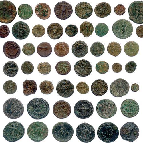 EMPIRE ROMAIN  Lot de CENT VINGT monnaies romaines en bronze (as, follis, moyens…
