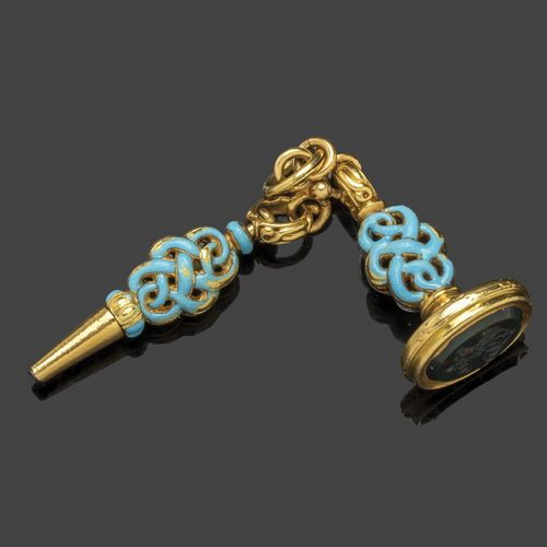 Breloque en or jaune et émaux turquoises, comprenant une clé de montre gousset e…