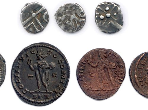 DIX monnaies antiques diverses: trois deniers gaulois en argent, un denier de J…