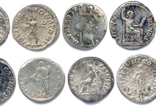 EMPIRE ROMAIN  Lot de DIX SEPT monnaies romaines en argent  (16 deniers et 1 ant…