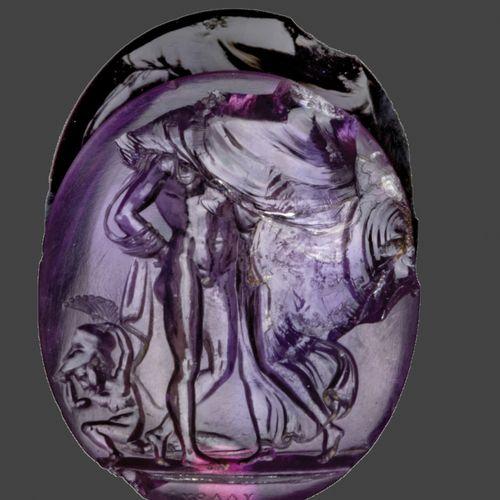 Intaille en améthyste gravée représentant Mars et Vénus. A leurs pieds, un amour…