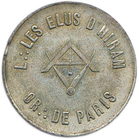 LES ÉLUS D'HIRAM  L∴ LES ÉLUS D'HIRAM / O∴ DE PARIS. Niveau et compas inversés…