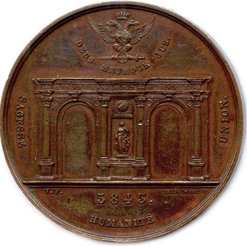 GRAND ORIENT DE FRANCE Inauguration du Temple 1843.  ★ G.: O.: DE (triangle radi…