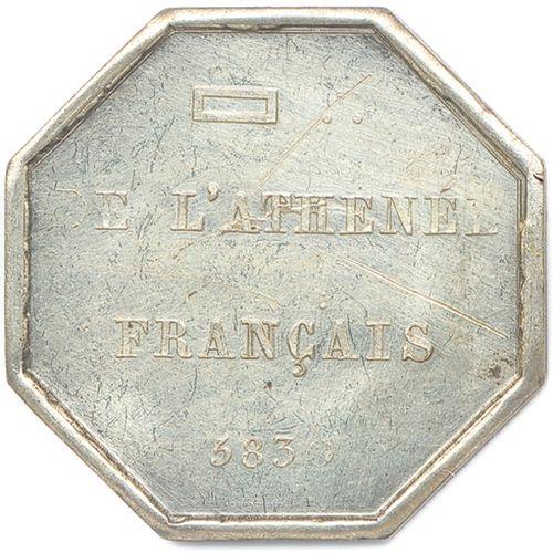 L'ATHÉNÉE FRANÇAIS  Étoile flamboyante portant un G au centre d'un compas et d'u…