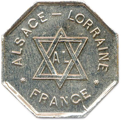 ALSACE LORRAINE 1872  Légende circulaire : ALSACE LORRAINE / FRANCE. Deux triang…