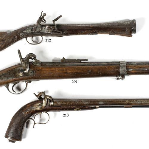 """Grand pistolet de carrosse à deux canons en table, signé """"Perin Lepage à Paris"""".…"""