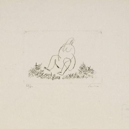 Jean FAUTRIER Jean FAUTRIER (1898 1964) Small nude N Etching on Vergé d'Auvergne…
