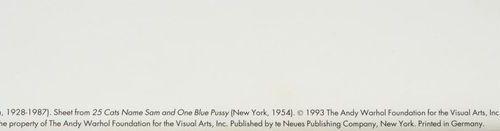 ANDY WARHOL Andy WARHOL (D'après) Sam Pink cat Offset lithographie Tampon de la …