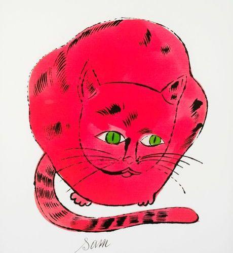 ANDY WARHOL Andy WARHOL (D'après) Sam Red cat Offset lithographie Tampon de la f…