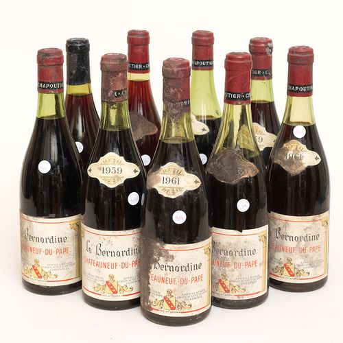 Châteauneuf du Pape 9 bottles CHÂTEAUNEUF DU PAPE 3 bottles1959, 2 bottles1961 a…