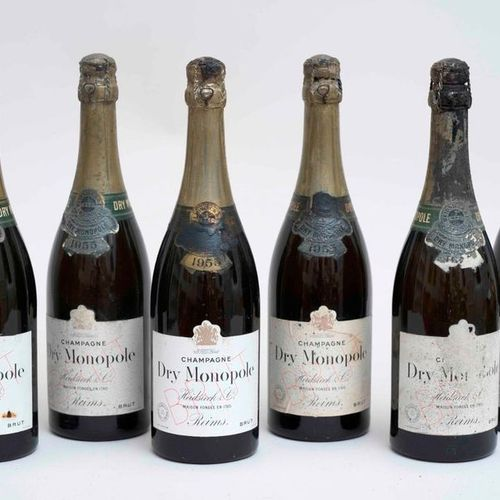 HEIDSIECK CHAMPAGNE 6 bouteilles CHAMPAGNE HEIDSIECK & CO 1955 Dry Monopole (niv…