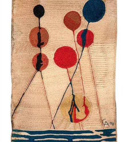 Alexandre Calder Alexandre CALDER (1898 1976) Burlap tapestry monogrammed lower …