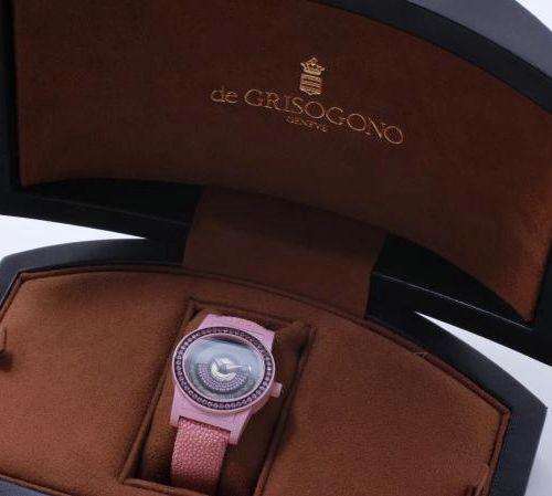 DE GRISOGONO by GRISOGONO ''TONDO BY NIGHT''.  Ladies' wristwatch in pink photol…