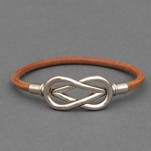 Hermès HERMES Bracelet infiniti en cuir et métal palladié Doublure en vinyle bei…
