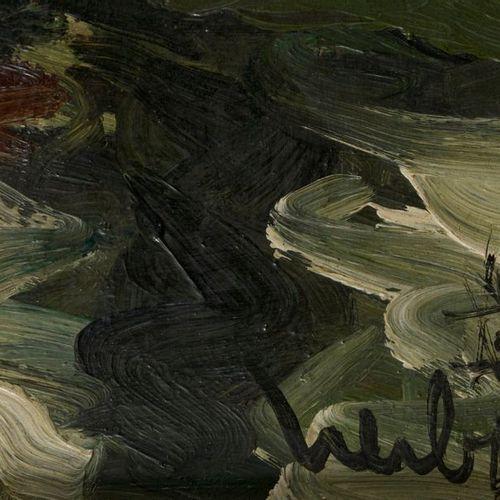 Fernard Herbo Fernand HERBO (1905 1995) La maison au borde de l'eau Huile sur is…