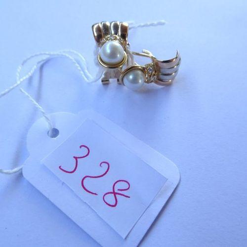 PAIRE DE BOUCLES D'OREILLES en or jaune, perles et pierres, poids 4,6 gr