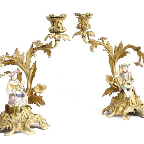 A PAIR OF FRENCH ORMOLU TWIN LIGHT CANDELABRA IN LOUIS XV STYLE SECOND HALF 19TH…