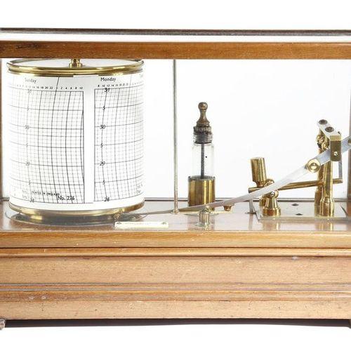 A MAHOGANY BAROGRAPH BY SHORT AND MASON EARLY 20TH CENTURY with a glazed lift of…