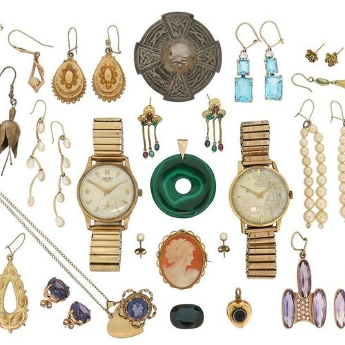 Various items of jewellery, including a steel and gold wristwatch by Longines; a…