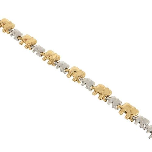 A two colour gold elephant bracelet, set with smaller textured white gold elepha…
