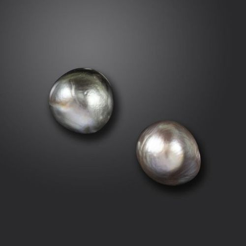 A pair of natural pearl stud earrings, on white gold post fittings Accompanied b…