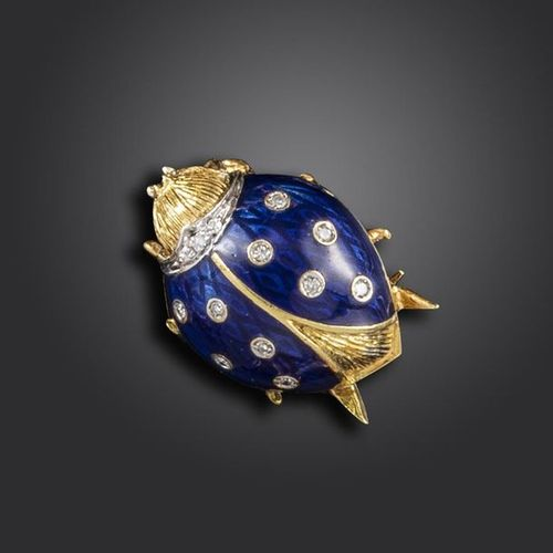 A diamond and blue enamel ladybird brooch by Van Cleef & Arpels, in textured yel…
