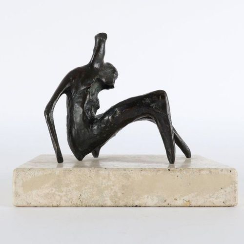 ‡Henry Moore OM, CH (1898 1986) Maquette for Seated Torso Bronze on a marble bas…