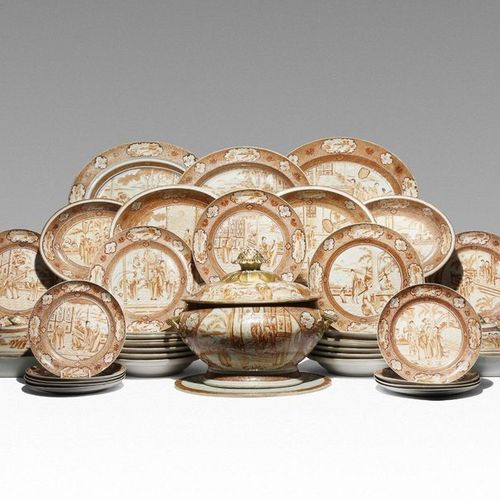 AN EXTENSIVE CHINESE ROUGE DE FER PART DINNER SERVICE C.1790 Comprising: an oval…