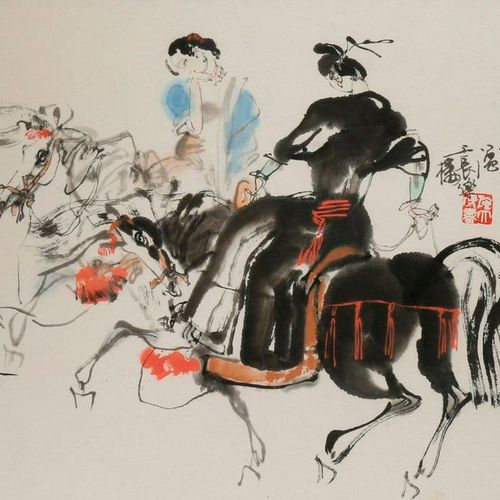 SHI DAWEI (1950 ) FIGURES ON HORSEBACK A Chinese painting, ink and colour on pap…